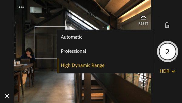 Seleccionando el nuevo modo de captura HDR de Lightroom Mobile © Albedo Media